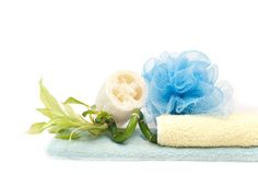 Loofah, bamboo and towels Royalty Free Stock Photo