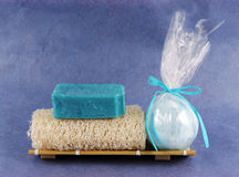 Loofah and bath bomb Royalty Free Stock Photography