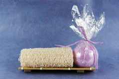Loofah and bath bomb Stock Photography