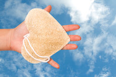 Loofah bath puff use for cleaning  skin Stock Image
