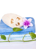 Loofah, candle and towel Royalty Free Stock Images