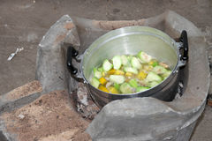 Loofah cooking soup Royalty Free Stock Photos