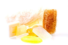 Loofah and soaps Royalty Free Stock Photography
