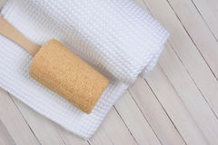 Loofah on Towel Royalty Free Stock Photography