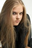 Look. Aggressive girl portrait Stock Photography