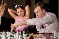 Look. Trainer explain chess game at training Royalty Free Stock Photo