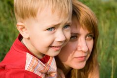 Look. Mom and the son is keen look in a distance Stock Images