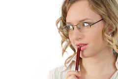 Look at. Woman with pen, separate on white Stock Photo