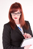 The look. A secretary looking at her boss Stock Photography