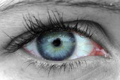 Look. Selective colour used in a close-up of a womans eye royalty free stock photography