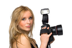 Look. Portrait of a beautiful young blond female with camera, isolated on white Stock Photography