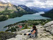 A look above on the town of Waterton on a dark cloudy day, at th royalty free stock photos