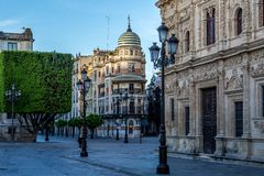 Empty Streets of Seville, Spain royalty free stock photo