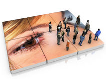 Look and advertising. The eyes of the crowd on advertising Stock Photo