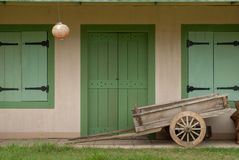 The look of the ancient house is equipped with wooden carts stock image