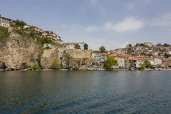 Look at the ancient picturesque town of Ohrid from the lake of the same name. Today Ohrid is a tourist city of international importance. The well preserved old stock image