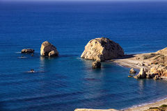 Look at Aphrodite's Rock, Cyprus tourist attraction Stock Images