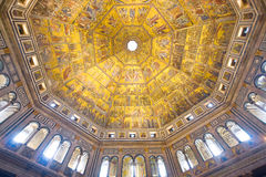 Look at the astonishing ceiling of the baptistery. Battistero San Giovanni at the heart of the city centre. Florence, Tuscany, Italy Stock Images