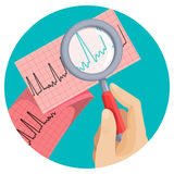 Look at atrial fibrillation through magnifying glass held by hand Stock Image