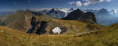 Look at the beautiful hills of Swiss Alps. Panoramic view from hill Faulhorn in swiss alps. GRINDELWALD IN BERN CANTON SWITZERLAND stock photography