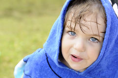 Look beautiful little boy. Beautiful little boy with wet hair looking up Stock Photos