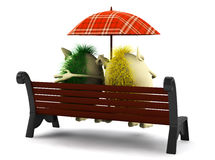 Look from behind on puppets under umbrella Stock Photos