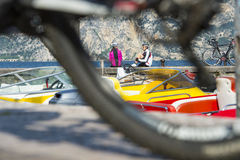 Look at the bike. Bike stop and relax on the lake Royalty Free Stock Image
