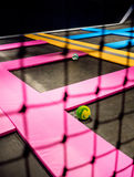 A look through black net of indoor jumping playground Stock Photos