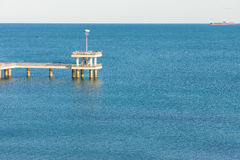 Look at the black sea with a quay of Bourgas, Bulgaria Stock Photos