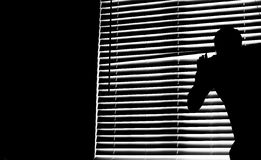 Look Through the Blinds. Image of someone looking through the blinds of a window royalty free stock images