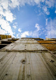 Look at blue sky. Abandoned building Royalty Free Stock Image