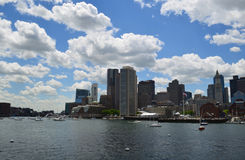 A Look at Boston Harbor and the City of Boston`s Skyline. A cityscape of the City of Boston on a summer day royalty free stock image