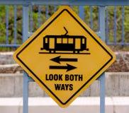 Look Both Ways. Warning on train platform stock photo