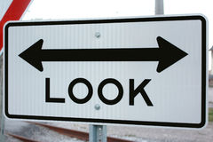 Look Both Ways Sign. Be careful and make sure to look both ways stock photography