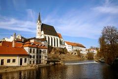 Look from the bridge. On Český Krumlov city and Vltava river royalty free stock photography