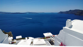 Look on the bright sea in Oia town on Santorini island Royalty Free Stock Photography