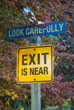 Look Carefully, Exit Is Near. Collage: road sign NO EXIT changed to EXIT IS NEAR Stock Photo