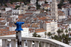 Look at the city. Blue telescope is waiting Royalty Free Stock Photo