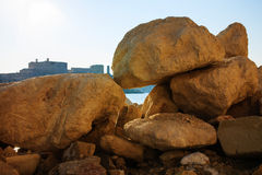 Look at the city through big stones, Malta.  stock photo
