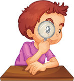 Look closer. Illustration of a boy using a magnifying glass royalty free illustration