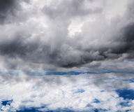 Look at the clouds and the sky at an altitude of aircraft flight Royalty Free Stock Photos