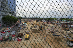 Look at the construction site through isolation net Stock Photography