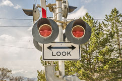 Look Before Crossing Sign Royalty Free Stock Photo