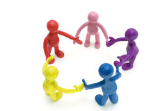 Look on discussing group of plasticine puppets Royalty Free Stock Photo