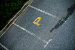 Look down empty parking spot with vegetation and shrubbery  from Stock Image