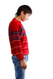 Look down. Man in striped red sweater on white background looking down Royalty Free Stock Photo