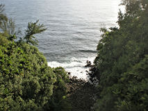 A look down onto the shore. Here is a look down onto the shore in Honokaa, Hawaii royalty free stock image