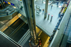 A look down the platform levels at Berlin Hauptbahnhof Royalty Free Stock Photo