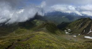 Look down. View from the mountain in Carpathians Stock Photography