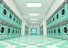 Laundromat Clean. A look down a well lit clean aisle of turquoise industrial washing machines in a laundromat - 3D render Stock Photo